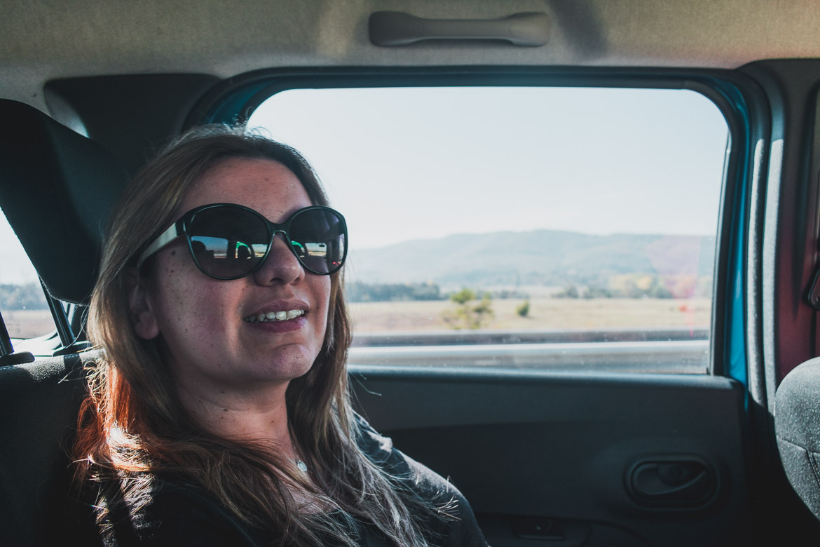 This photo shows Maria in the car from Sofia airport to Bansko. Hoppa airport transfers. How to get from Sofia to Bansko Bulgaria.