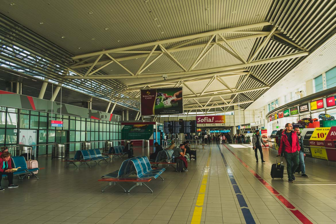 This photo shows the arrivals hall at Sofia airport terminal 2. Hoppa airport transfers. How to get from Sofia to Bansko Bulgaria.