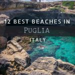 This is a photo of Grotta della Poesia, the gorgeous natural pool in Puglia Italy. There is a man swimming in the emerald waters and a couple more standing on the cliff above. This is an optimised pin for Pinterest. There is overlay text that reads: 12 best beaches in Puglia Italy. If you like our article, please pin this image!