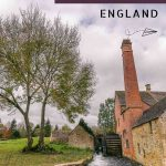 This is a photo of the traditional mill in Lower Slaughter at the Cotswolds. This is an optimised image for Pinterest. There is overlay text that reads 14 best villages in the Cotswolds England. If you like our article, please pin this image!