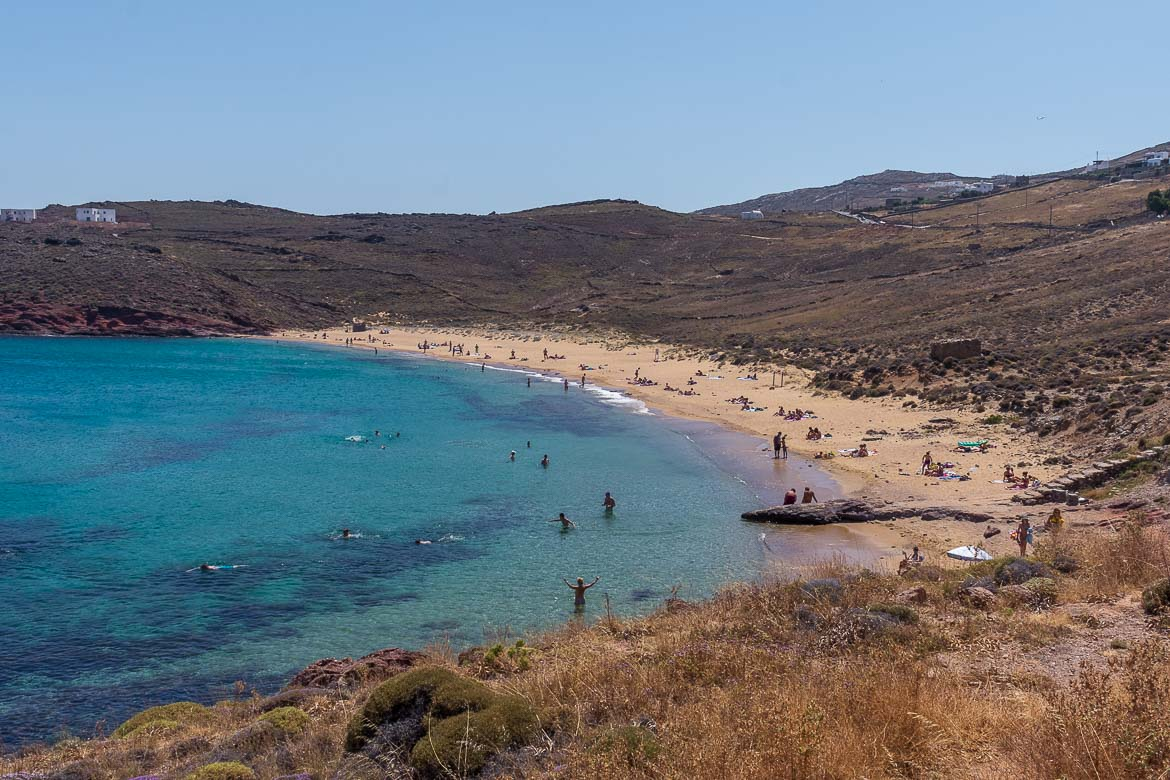This is a panoramic shot of the beautiful sandy beach of Agios Sostis.