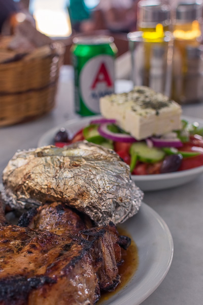 This is a close up of some of the dishes we had at Kiki's tavern: a steak and a Greek salad.