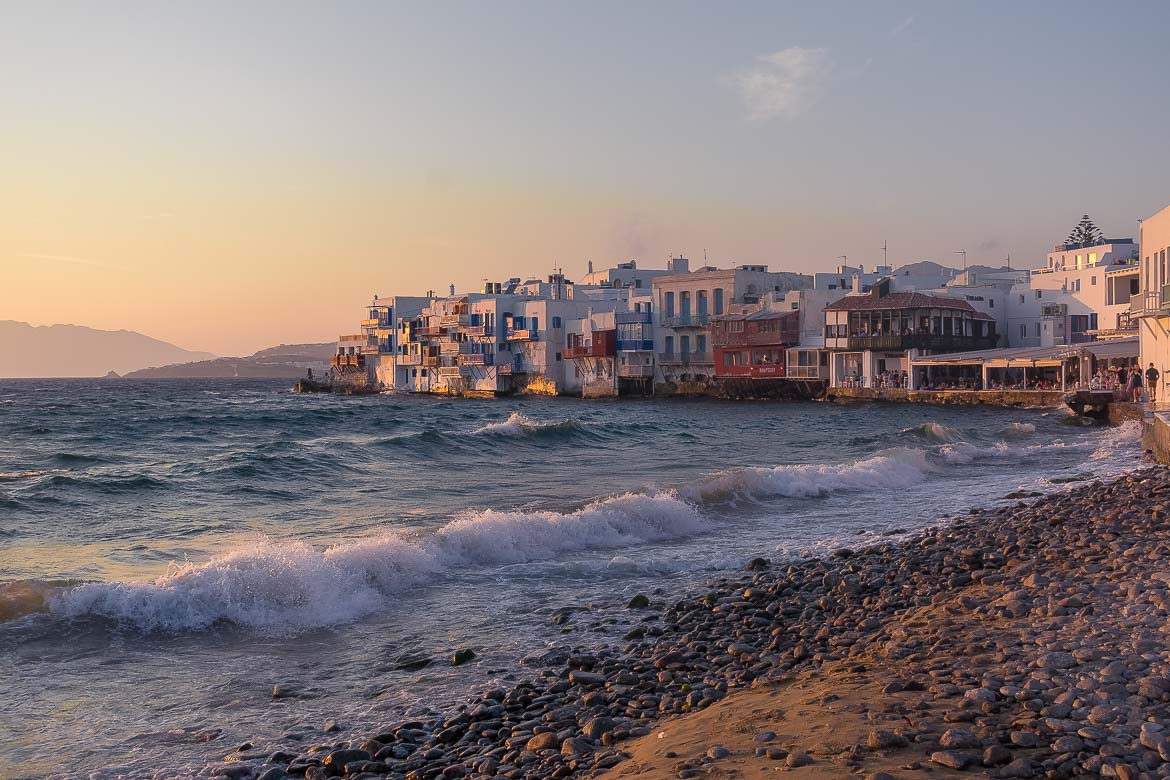 This is Little Venice in Mykonos at sunset. We believe that this is the most iconic spot on the island. This is why we chose this photo to be the featured image of our article: The Best 3 Days in Mykonos Itinerary for Non Party-goers.