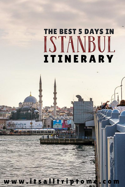 This is an optimised image to be used for Pinterest. It shows the Galata Bridge and the view to Istanbul from the bridge. The letters on the image read: The best 5 days in Istanbul itinerary. If you like our article, please pin this image!