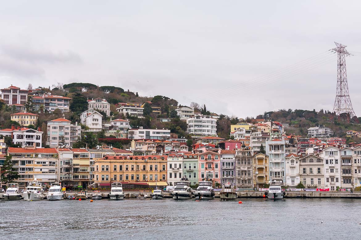 This photo was shot from the ferry and shows Bebek neighbourhood. There is a line of maginificent colourful mansions along the waterfront.