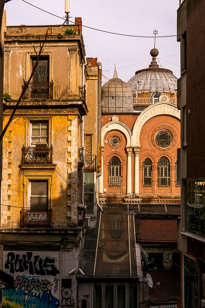 This photo shows details of old yet absolutely charming buildings in Beyoglu.