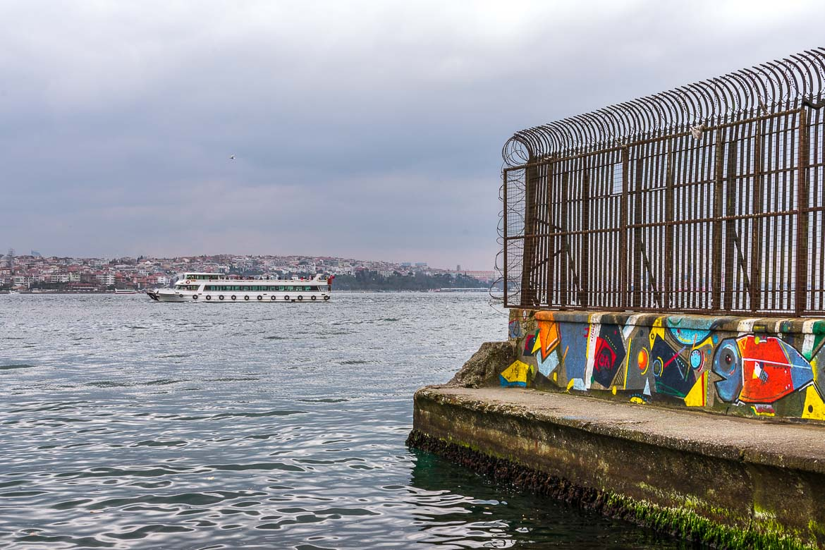 This photo shows a pier overlooking the Bosphorus strait.