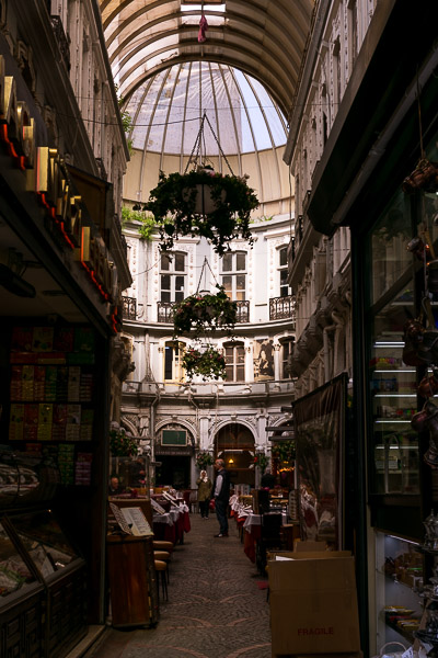 This is a photo of Çiçek Pasajı. It is a beautiful arcade with shops right next to Istiklal Street.