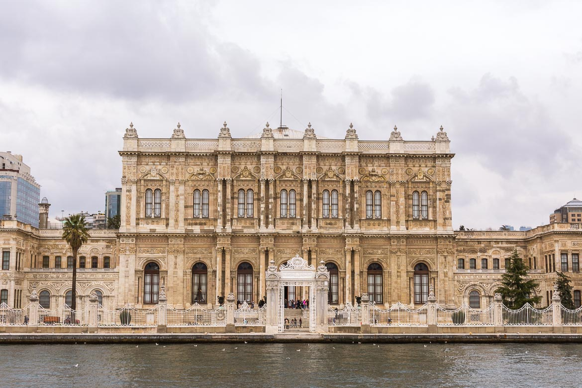 This is a photo of the facade of Dolmabahçe Palace from the ferry.