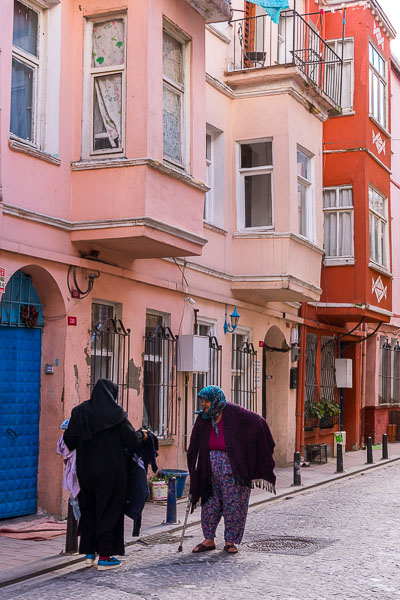 A laid back neighbourhood in Balat with local women casually chatting.