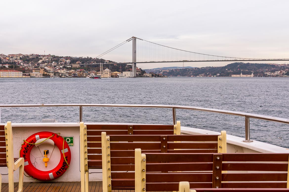 This photo was taken on the ferry as we approached Ortakoy Mosque. In the background, behind the mosque itself, we can see the splendid Bosphorus Bridge.