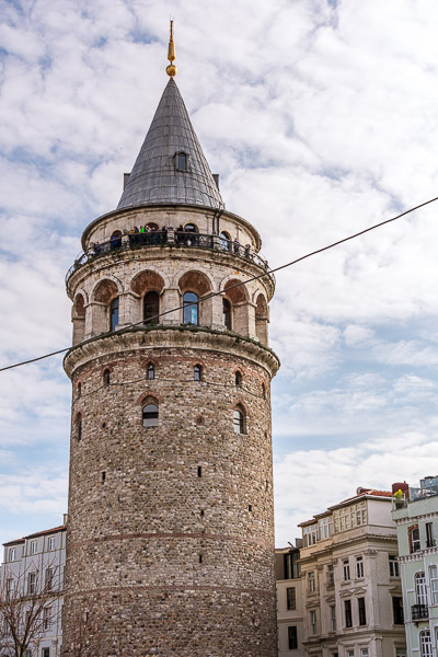 This is an up-close of the Galata Tower.