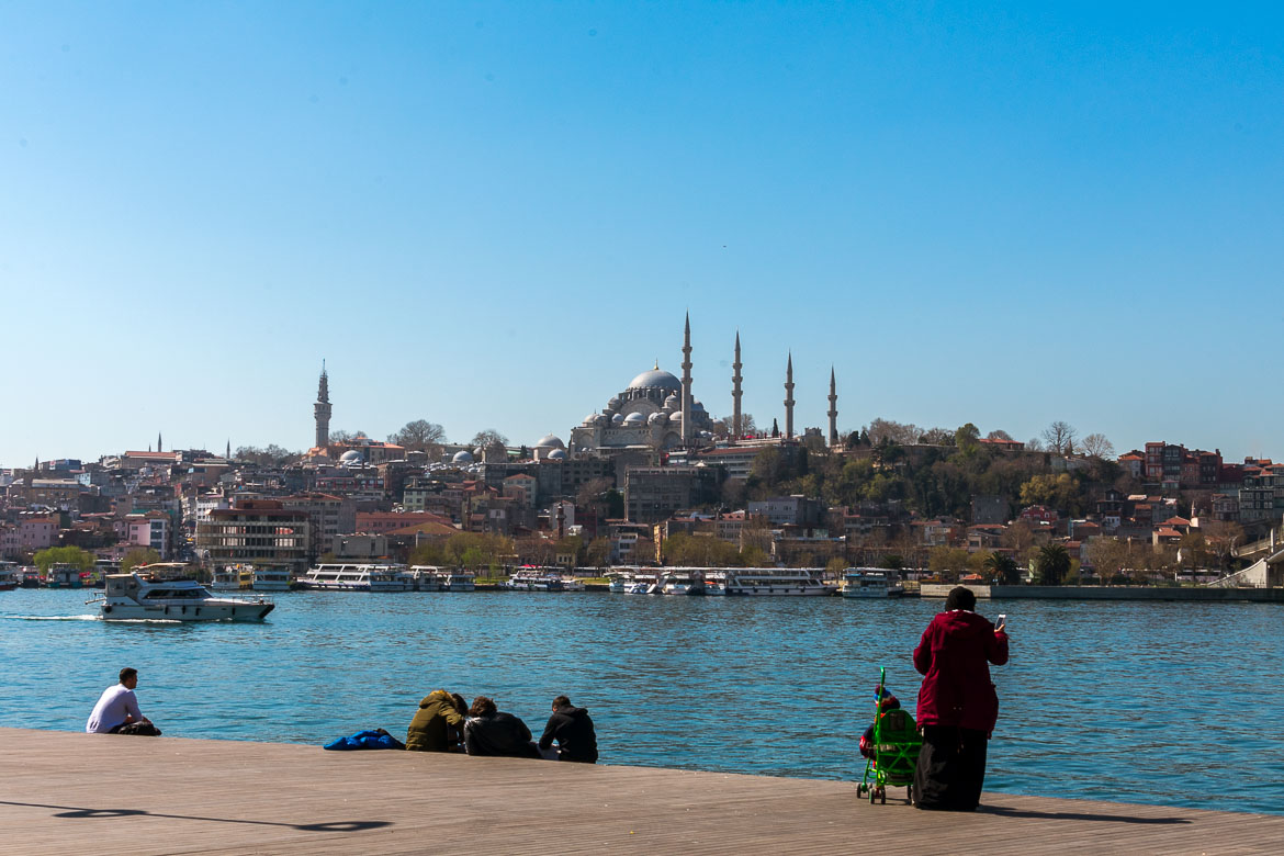 This is a photo of Suleymaniye Mosque as seen from across the Golden Horn.