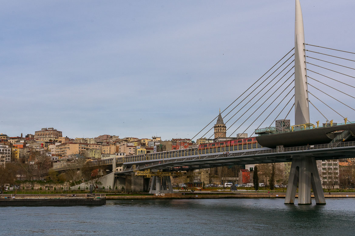 This is a photo of the Golden Horn Metro Bridge over the Golden Horn.