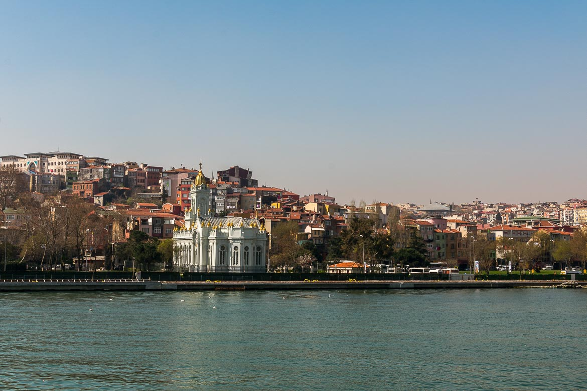 This photo shows the The Bulgarian Iron Church which is built on the shore of the Golden Horn. It is light blue in colour and it's special because it's made of iron.