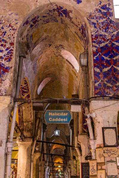 This photo shows Details from the Grand Bazaar's magnificent wall paintings.