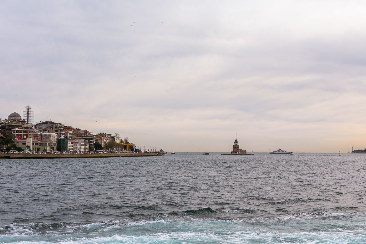 This photo shows the Bosphorus Strait with Maiden's Tower in the distance.