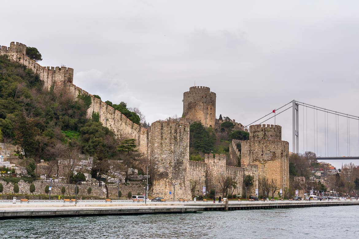 This is a photo of Rumelihisari, Istanbul's medieval fortress which is built on the waterfront.