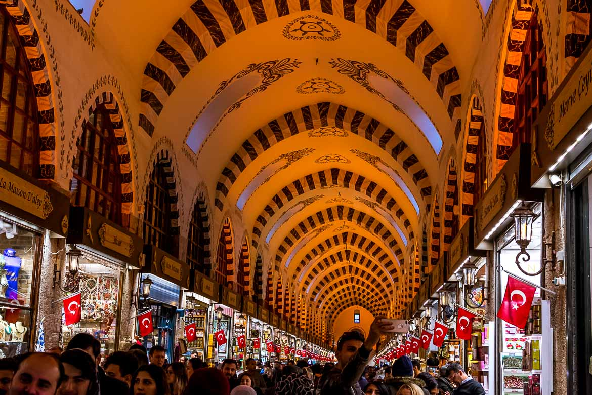 This photo was taken inside the Spice Bazaar. The focus is on the magnificent vaulted ceiling with its striped arches.