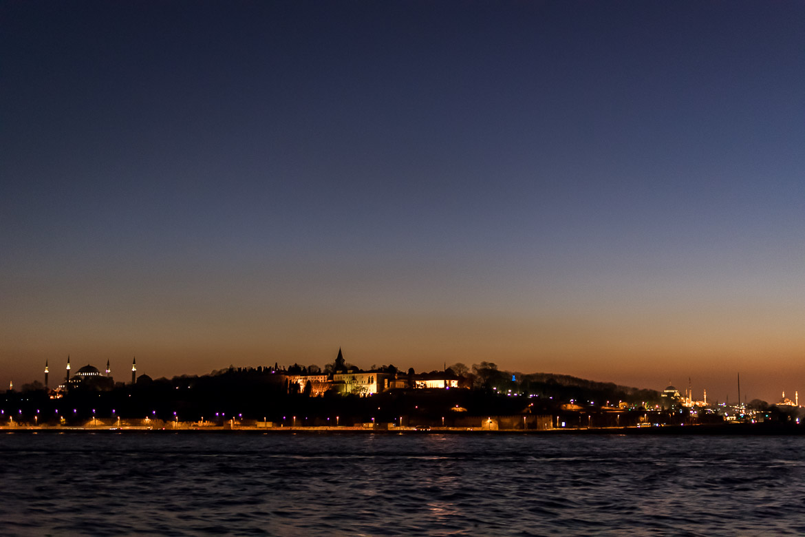 This is an evening shot of Topkapi Palace from the ferry.