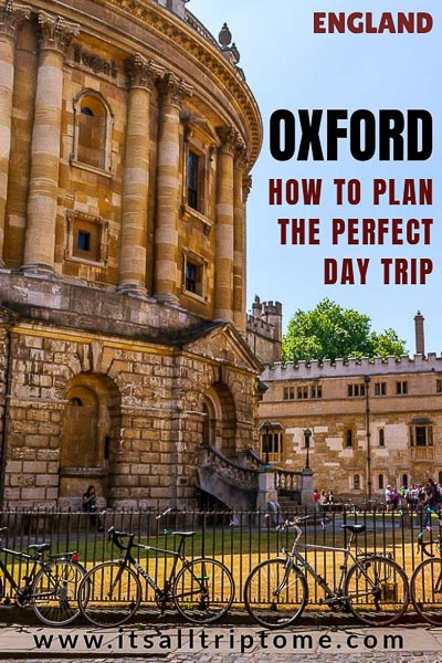 This is an optimised image for Pinterest. It shows the Radcliffe Camera and there is text on it that reads: England, Oxford, How to plan the perfect day trip. If you like our article, pin this image and help spread the word about how to plan a fantastic Oxford day trip from London.