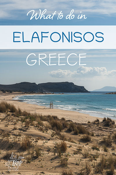 This image shows the long sandy beach of Simos on a windy day. This is an optimised image for Pinterest. There is overlay text that reads: What to do in Elafonisos Greece. If you like our article, please pin this image.