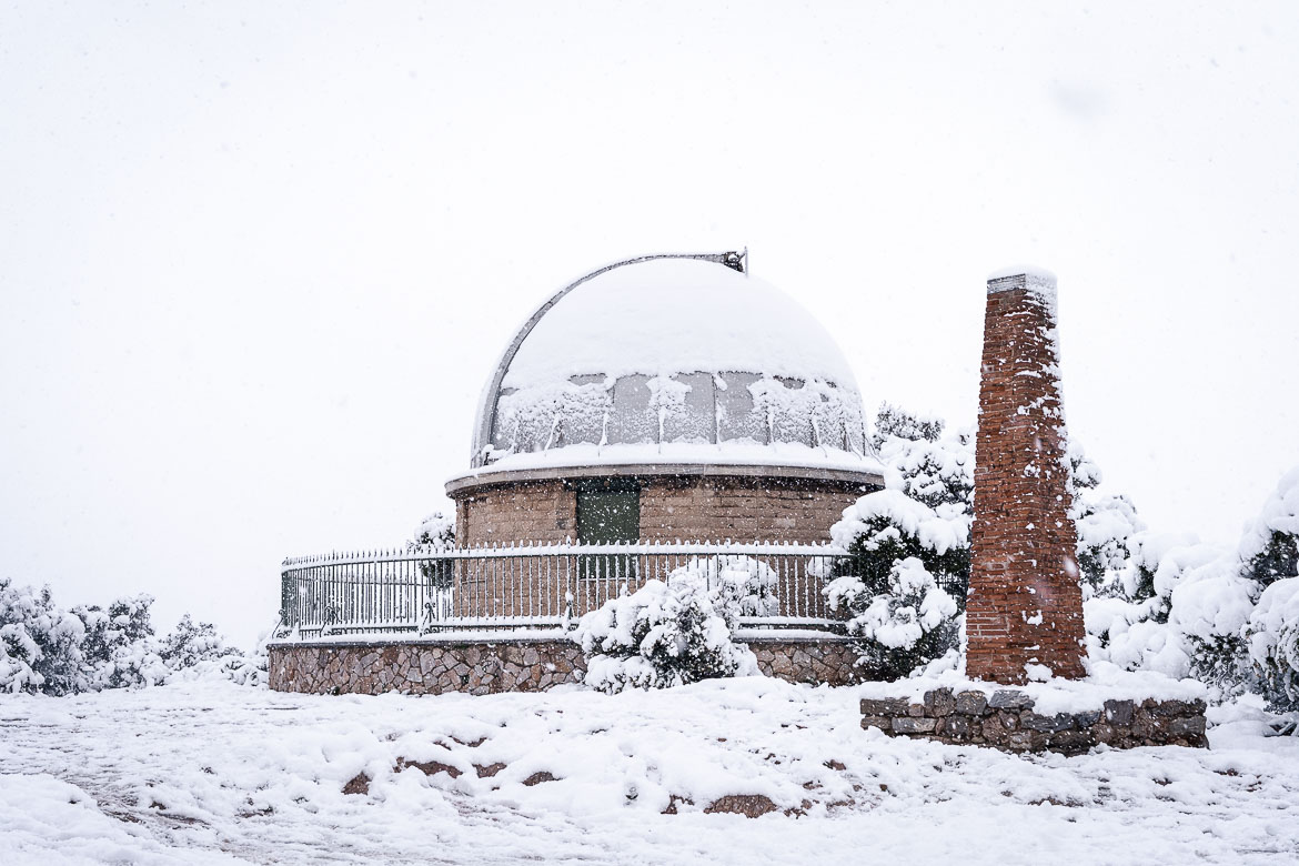 This is the National Observatory of Athens covered in snow.