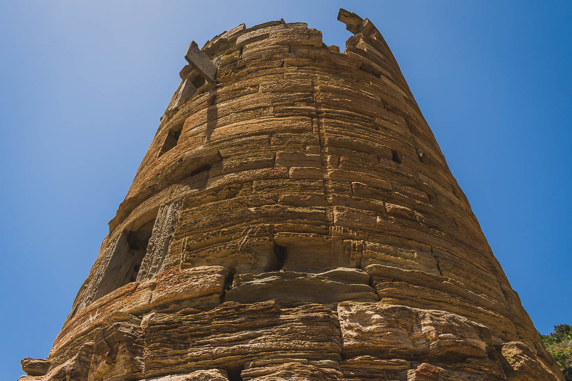 This is a close-up of Agios Petros Tower.