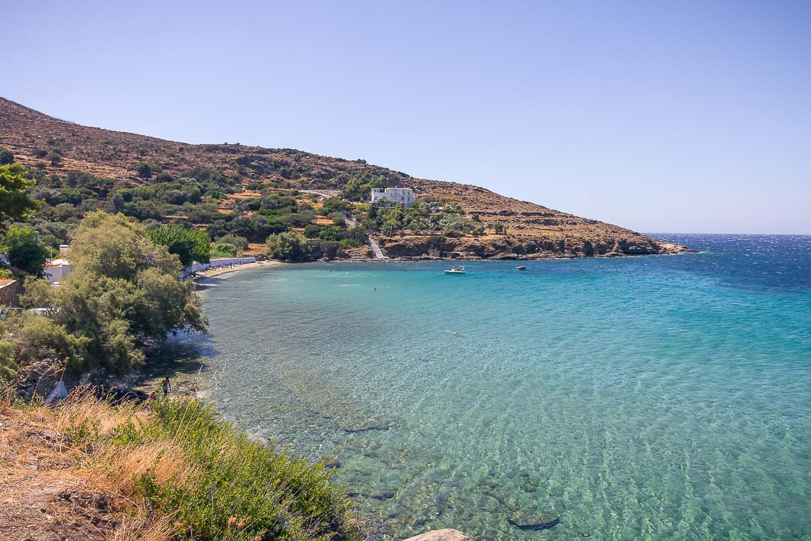 This is a panoramic shot of Agia Marina beach with its incredibly turquoise waters.
