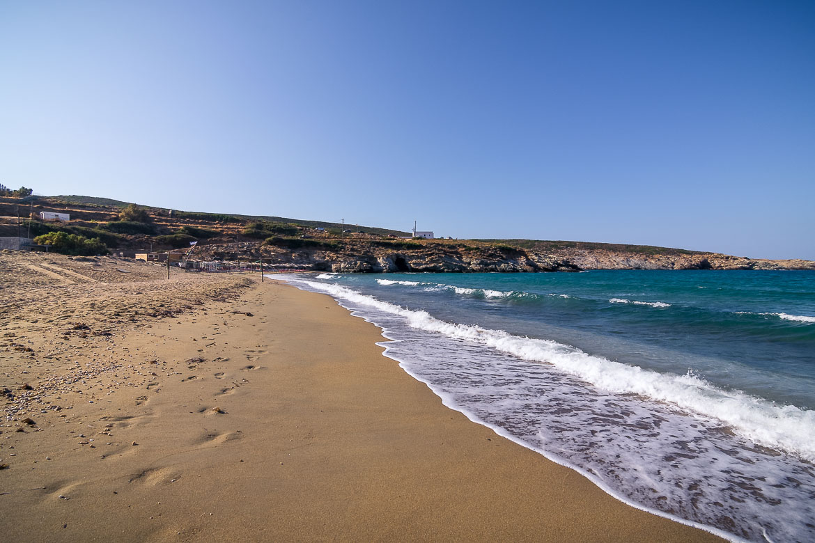 This image shows waves crushing on the fine sand at Large Ateni Beach.