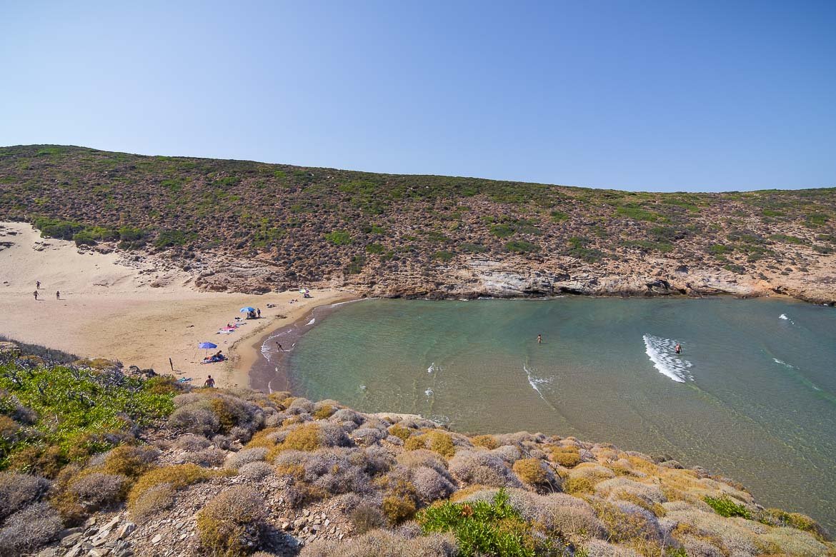 This image shows Small Ateni Beach from above. The sea is super shallow and the sand is golden.