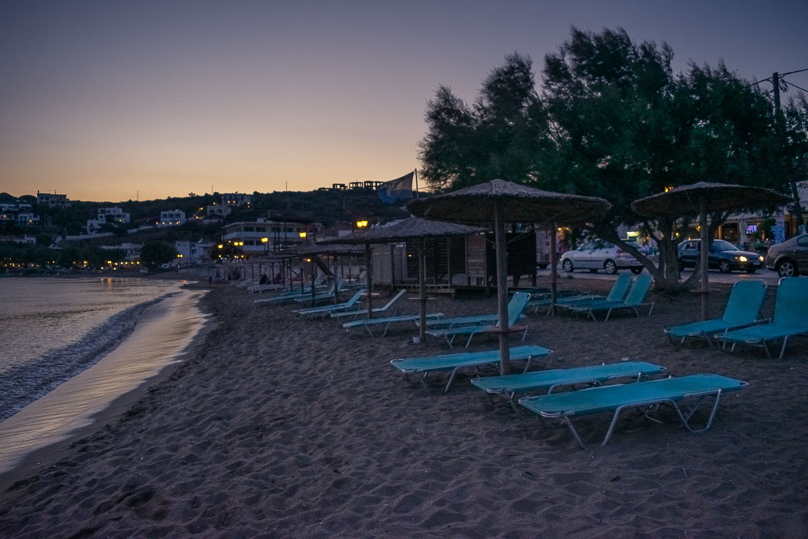 This is a snapshot of Batsi Beach at dusk. It's already quite dark so there are absolutely no people on the sunbeds.