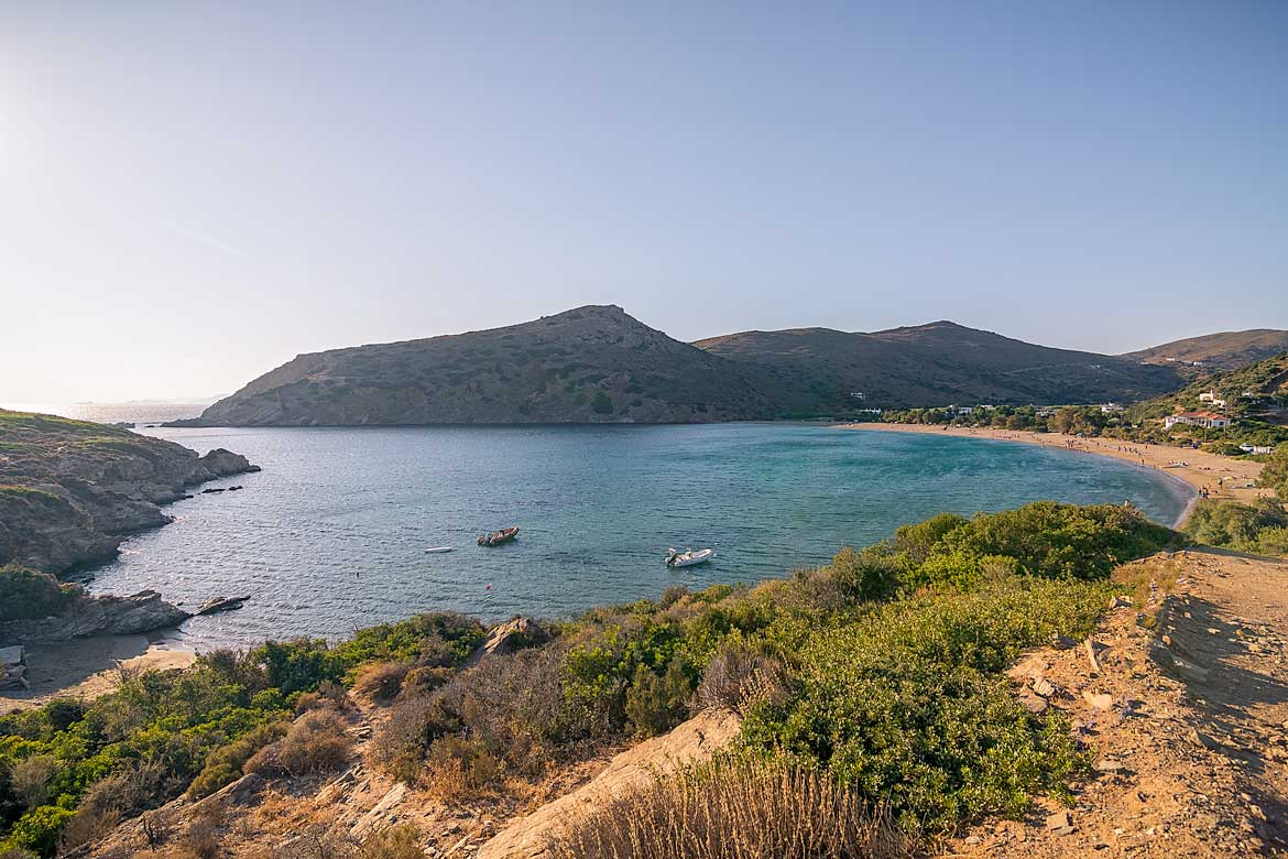 This is a panoramic shot of Fellos Beach.