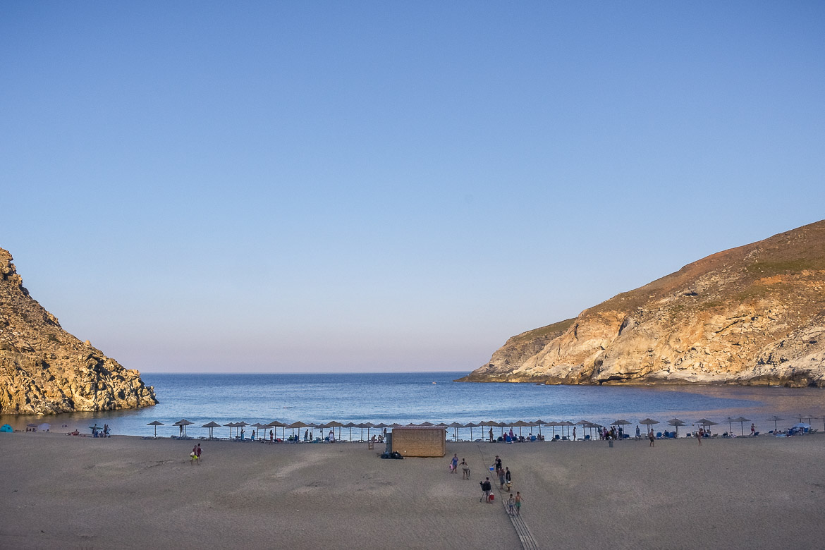 This is a shot of Zorkos Beach at sunset. The beach is absolutely calm with only a few people left at this time of day.
