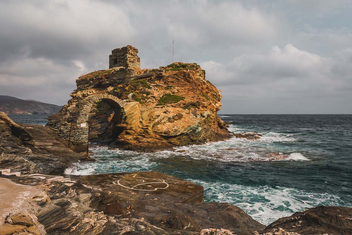 This photo shows the castle of Andros Island in Chora.