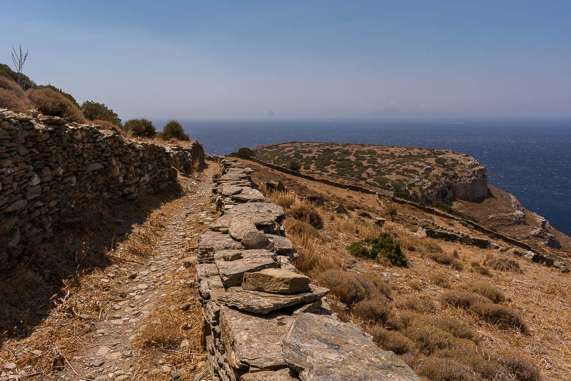 Hiking Path 7 on Andros Island leading to the archaeological site of Zagora.