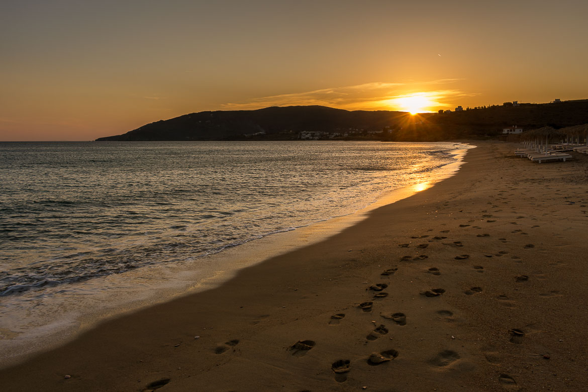 Agios Petros Beach, one of the most popular Andros beaches at sunset.