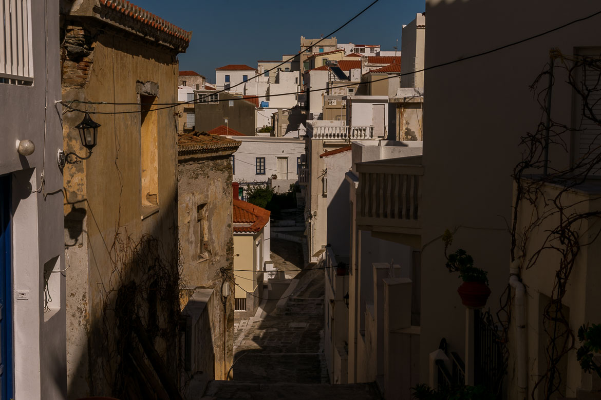 This image shows the traditional architecture of Andros Town.