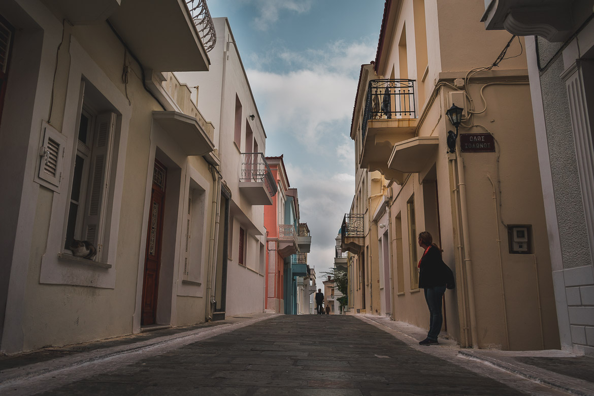 This is a photo of the main pedestrianised street in Chora in absolute autumn tranquillity during the 1st On Foot walking festival in October 2018.