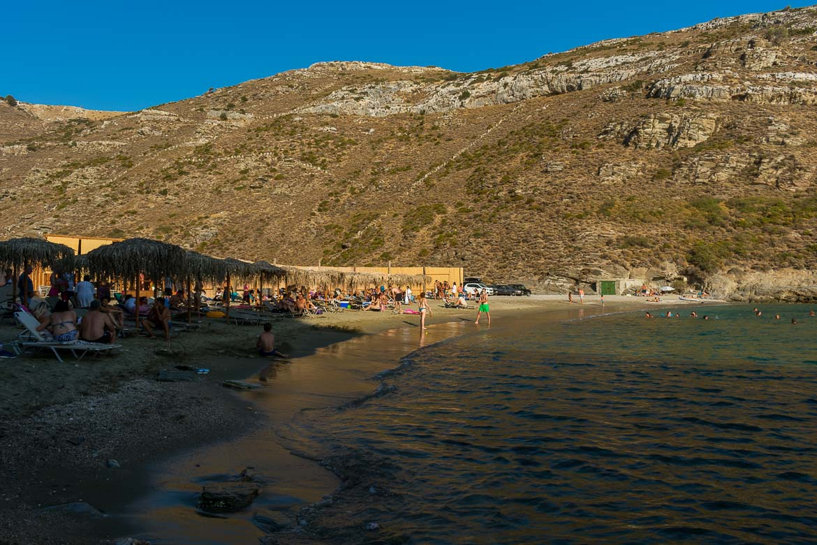Apothikes Beach on Andros Island, a secluded beach, yet home to one of the best beach bars on the island.