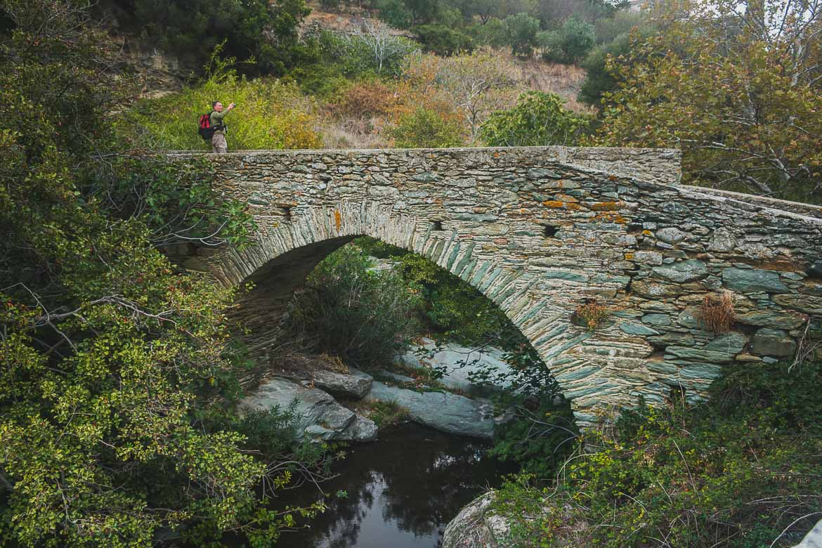 This photo shows one of many arch stone bridges in the countryside on Andros Island, Cyclades, Greece. 1st Andros On Foot walking festival was an amazing hiking event.