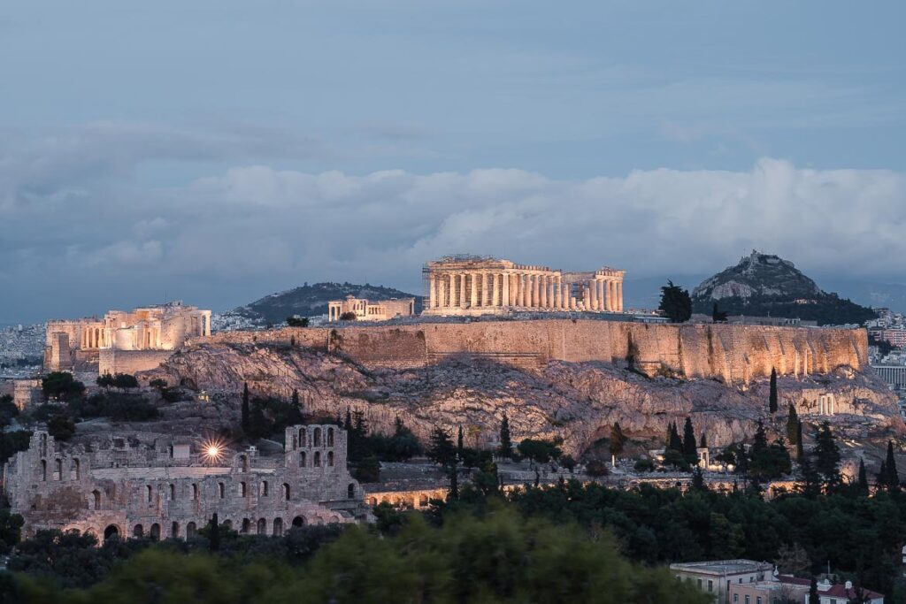 This image shows the Acropolis lit at dusk. It's probably the most characteristic view of the city and this is why we've chosen this image as the fetaured photo for our article Athens in 3 Days: The Only Itinerary & Guide You Need