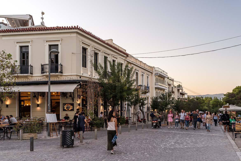 This image shows the pedestrianized Apostolou Pavlou street at dusk.