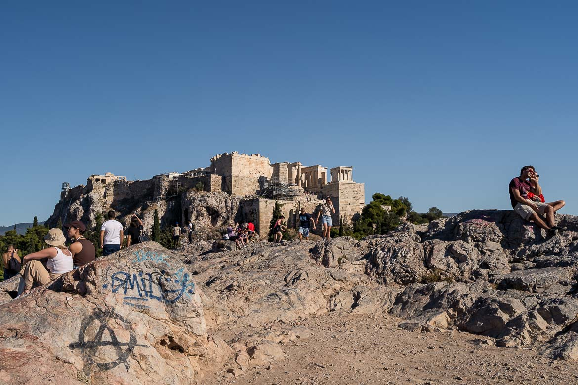 This image shows the view to the Acropolis from Areopagus Hill.