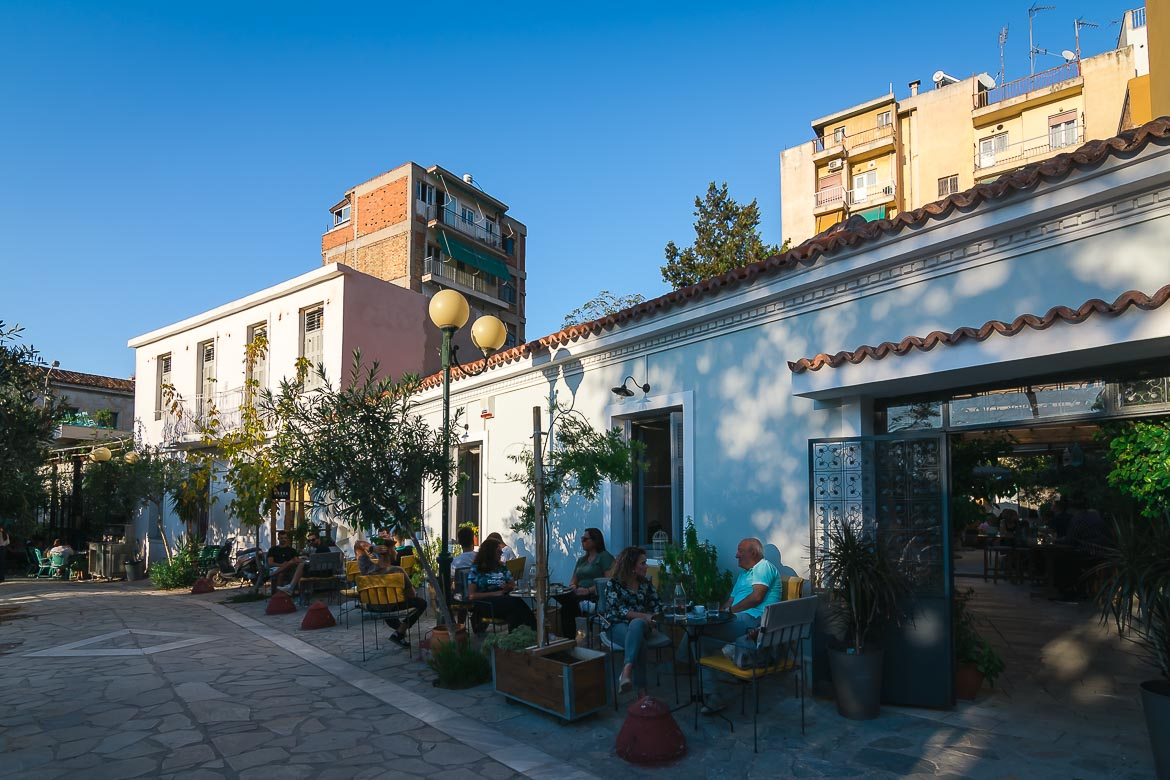 This image shows the beautiful cafes and restaurants in Avdi Square in Metaxourgeio.