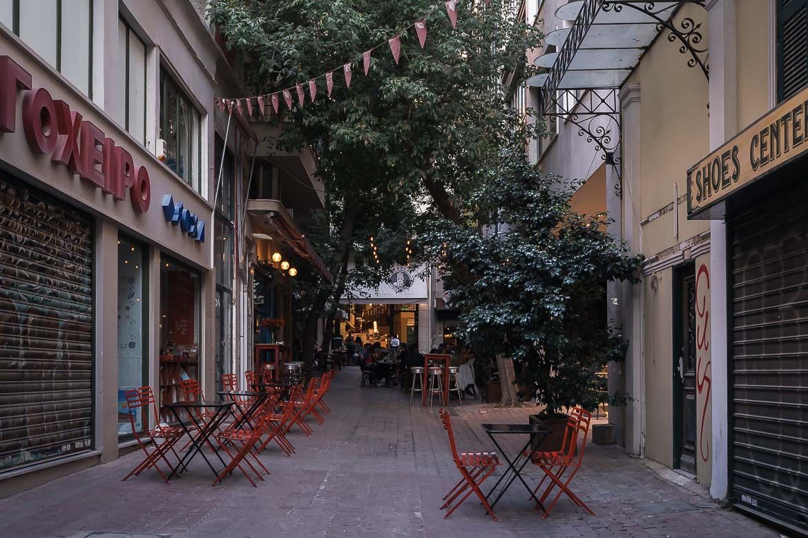 This image shows a pedestrianized street in the commercial triangle in Athens.