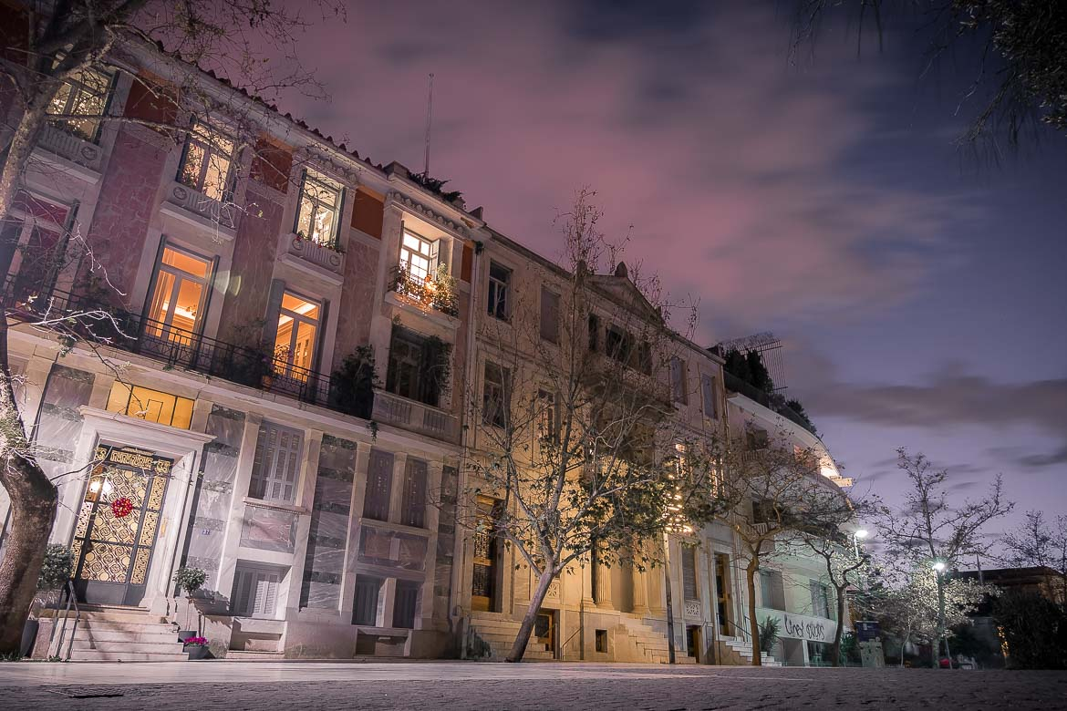 This image shows Dionysiou Areopagitou street at night.