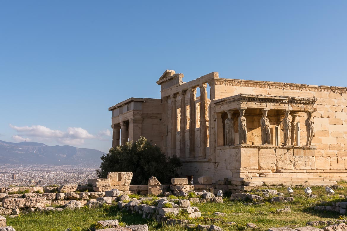 This image shows the Erextheion in the Acropolis. We can see the beautiful Karyatides instead of columns.