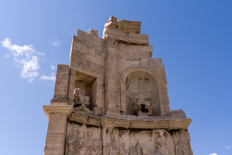 This image shows a closeup of Filopappou Monument.
