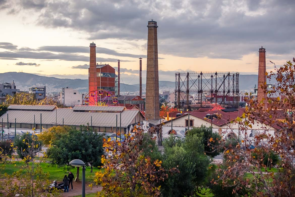 This image shows a panoramic view of Gazi neighbourhood. We can see the chimneys of the old gas power station.